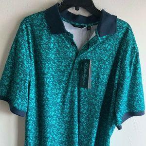 Velocity Ditsy Floral Polo Golf Shirt Blue Paisley